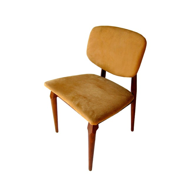 Image of Suede Mid-Century Dining Chairs- Set of 4