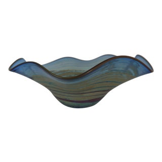Al Leedom Blue Curved Glass Bowl