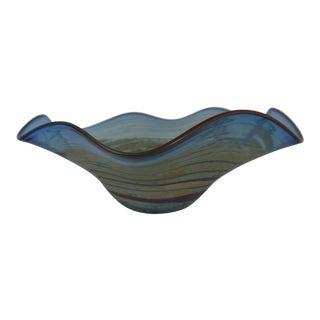 Al Leedom Blue Curved Glass Bowl