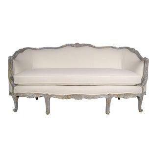 French Louis XV Gilt Painted Carved Sofa