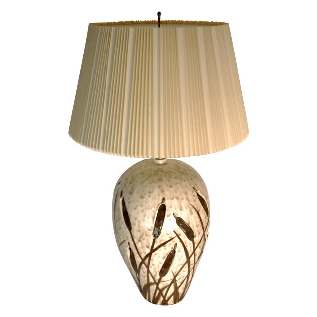 Mid-Century Cattail Lamp With Night Light - Image 1 of 8