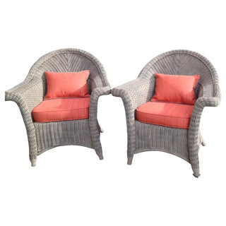 Wicker Armchairs With Orange Cushions - Pair