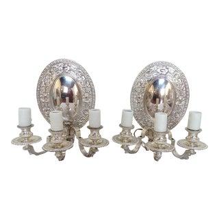 Antique Silver Plated Sconces - Pair