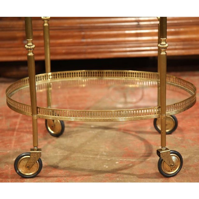 French Oval Brass Bar Cart on Wheels - Image 4 of 8
