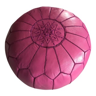 Moroccan Pink Leather Pouf