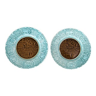French Majolica Turquoise Portrait Center Plates- a Pair