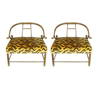 Brass Mastercraft Lounge Chairs - A Pair