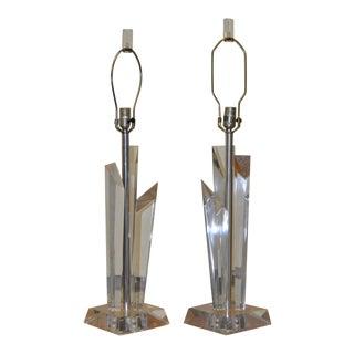 C.1970 Vintage Lucite Table Lamps - A Pair