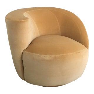 Vladimir Kagan for Directional Nautilus Swivel Chair Upholstered in Kravet Gold Velvet