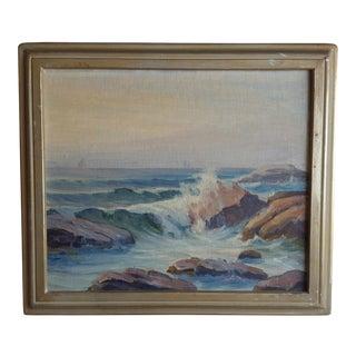 A. N. Davis Rocky Seaside Painting