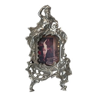 French Art Nouveau Silver Metal Frame