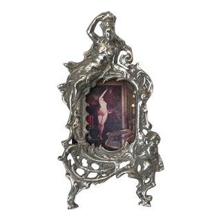 French Art Nouveau Silver Metal Frame