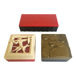 1930's Art Deco Celluloid Bakelite Mens Valet Vanity Boxes - Set of 3