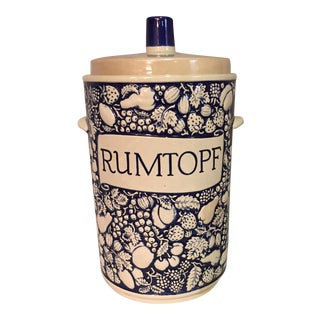White and Blue Rumtopf Ceramic Crock