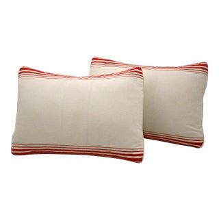 English Red Striped Linen Pillows- A Pair