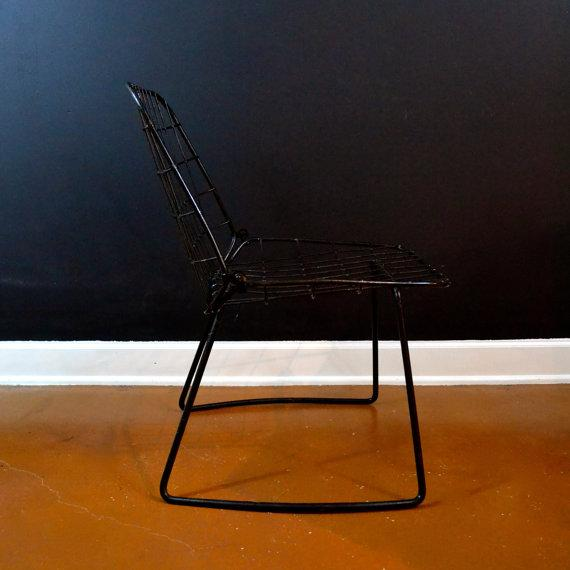 Vintage Danish Modern Wire Side Chair - Image 10 of 10