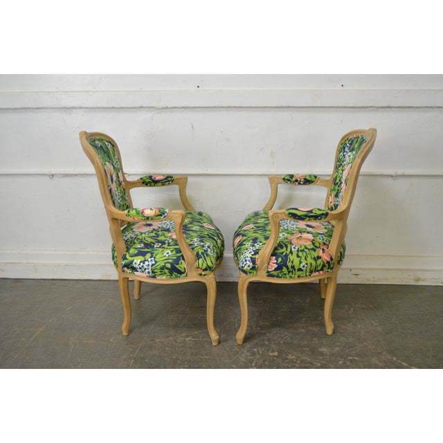 Woodmark French Louis XV Style Pair of Custom Upholstered Arm Chairs (B) - Image 8 of 11