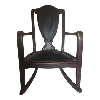 Antique Wood & Leather Rocking Chair
