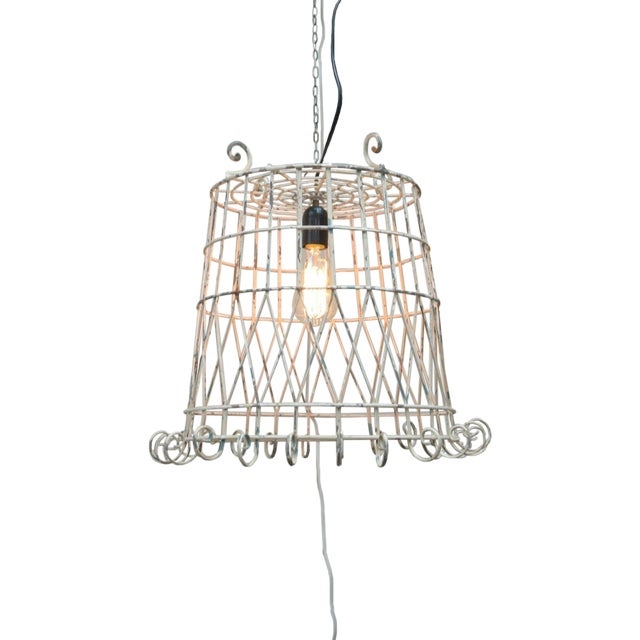 Antique Pendant Wire Cage Lamp - Image 1 of 5