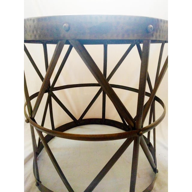 Image of Hammered Bronze Drum Side Table