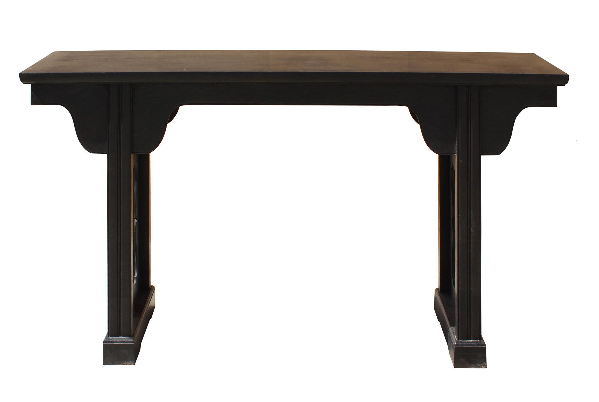Chinese Dark Brown Black Huali Rosewood Plain Ming Style Altar Table    Image 3 Of 7