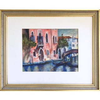 Vintage Venice Canal Watercolor Painting