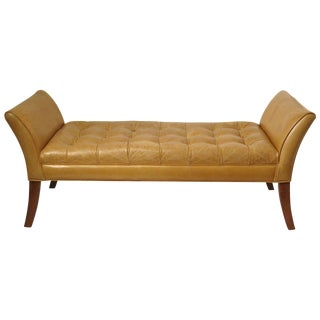 Classical Tan Leather Bench