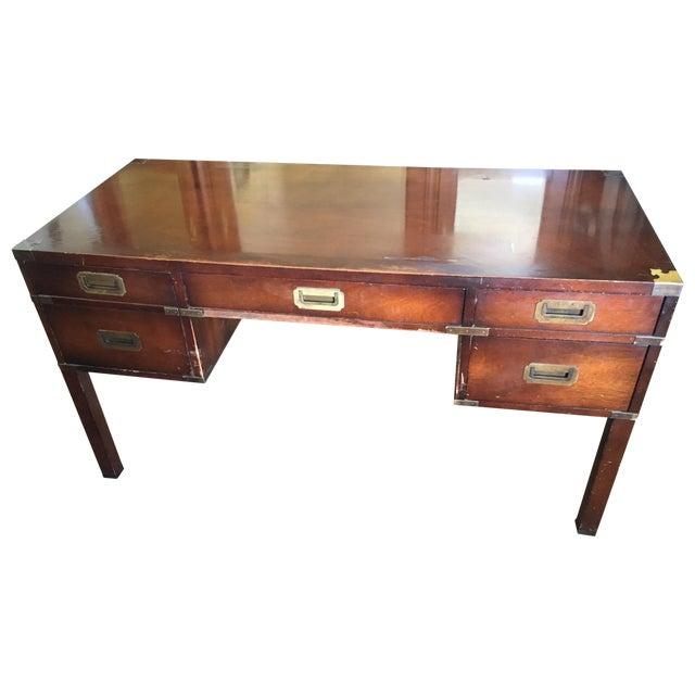 Mahogany & Brass Henredon Campaign Desk - Image 1 of 5