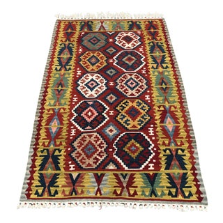 "Turkish Handwoven Kilim Rug - 3'10"" x 6'"