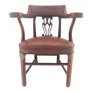 Colonial Willamsburg Style Mahogany & Leather Side Chair