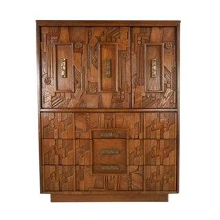 Paul Evans Lane Brutalist Mid Century Modern Pueblo Style Highboy Dresser