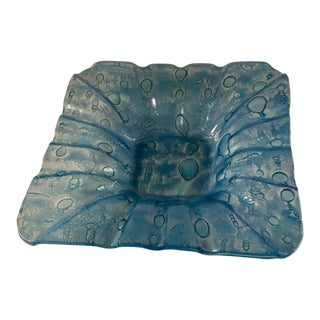 Denim Blue Hand-Blown Fused Glass Ashtray
