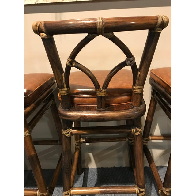 Image of McGuire Leather Wrapped Rattan Bar Stools - Set of 3