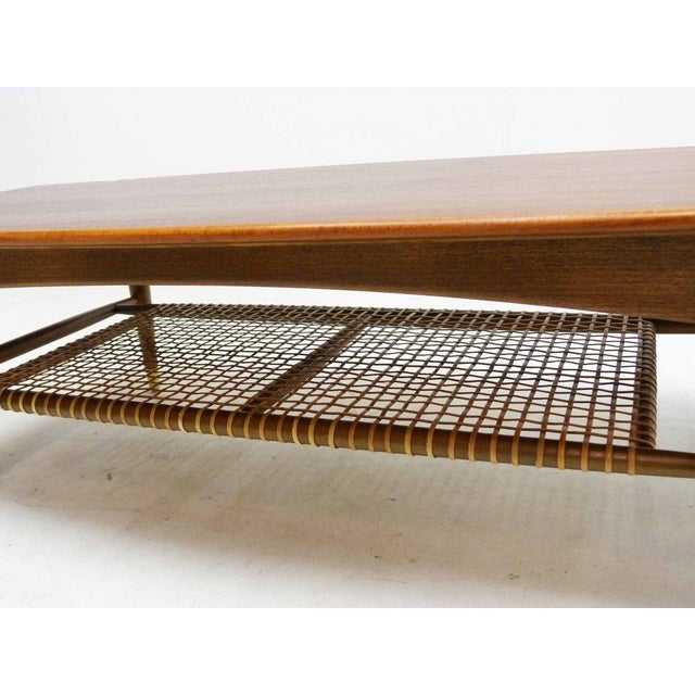 Dux Mid-Century Coffee Table with Cane Shelf - Image 5 of 10