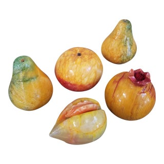 Vintage Italian Alabaster Fruit, 5 Piece