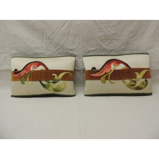 Pair of Vintage Embroidery Tapestry Decorative Lumbar Pillows