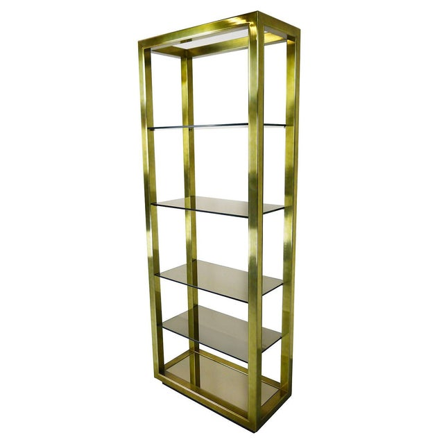Vintage Brass & Smoked Glass Four-Shelf Étagère - Image 2 of 5