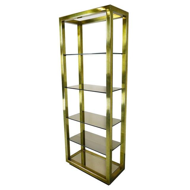 Image of Vintage Brass & Smoked Glass Four-Shelf Étagère