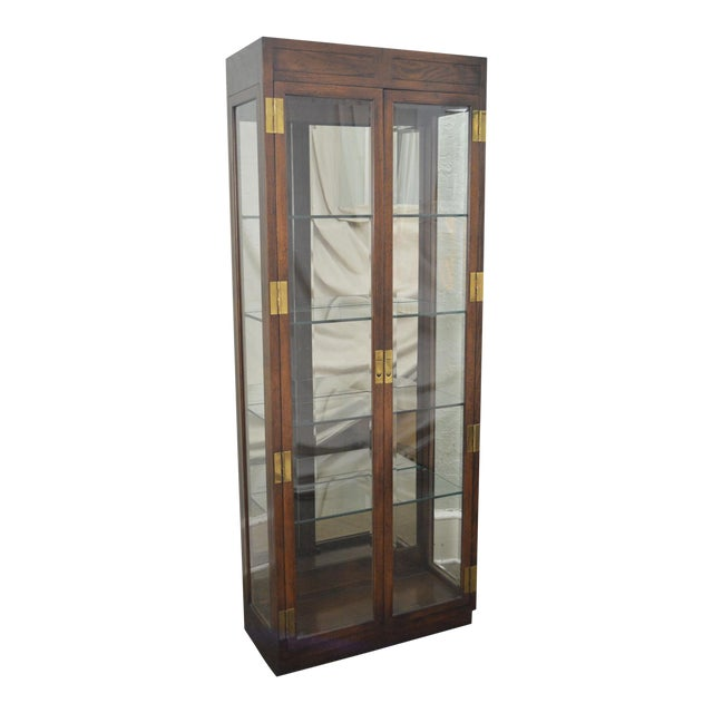 Henredon Campaign Style Lighted Curio Display Cabinet - Image 1 of 11