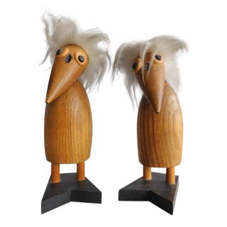 Tall Vintage Scandinavian Teak Wood Birds - a Pair