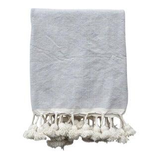 Grey Skies Moroccan Pom Pom Blanket