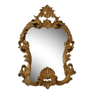 Hand-Carved Giltwood Mirror with Heavily Antiqued Glass, Italy, circa 1950s