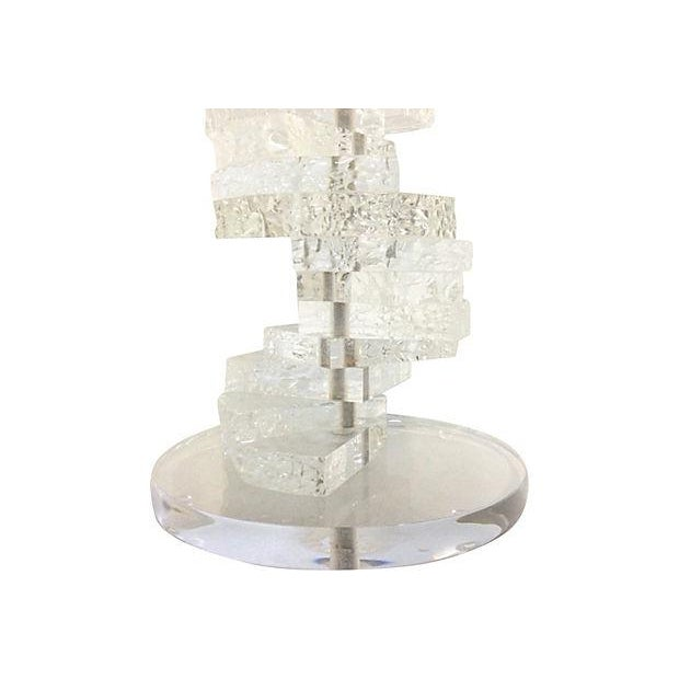 60s Carved Lucite Table Lamp & Parchment Shade - Image 2 of 6