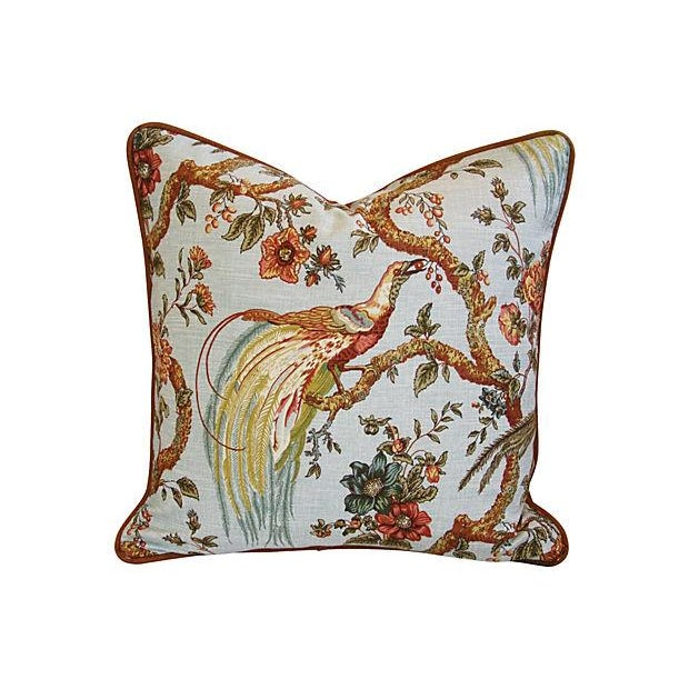 Custom Exotic Chinoiserie Fowl Pillows - Pair - Image 5 of 7