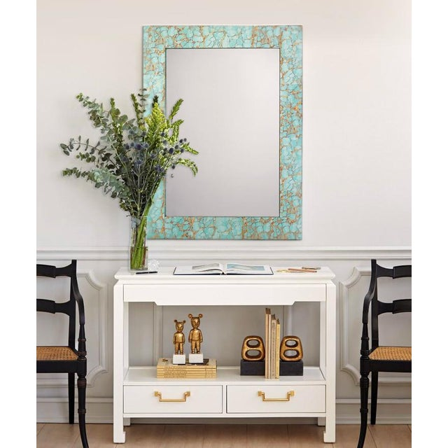 Jamie Young Turquoise & Gold Leaf Rectangle Mirror - Image 2 of 2