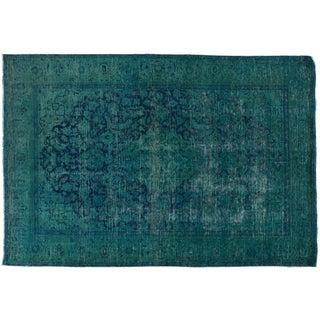 Pakistani Distressed Turquoise Rug- 6′4″ × 9′4″