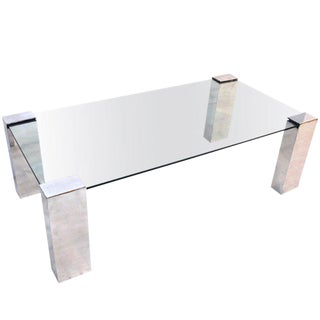 Gleaming Aluminum and Glass Coffee/cocktail Table