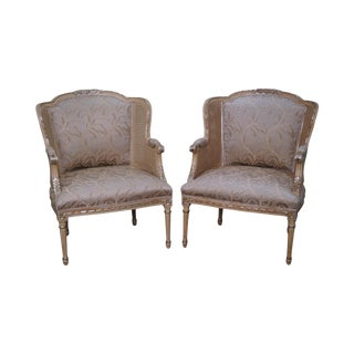 Century French Louis XVI Style Partial Gilt Cane Side Bergere Chairs - a Pair