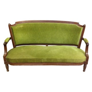 Antique Louis XVI Green Velvet Sofa