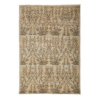 """Eclectic, Hand Knotted Brown Floral Wool Area Rug - 3' 10"""" X 5' 10"""""""